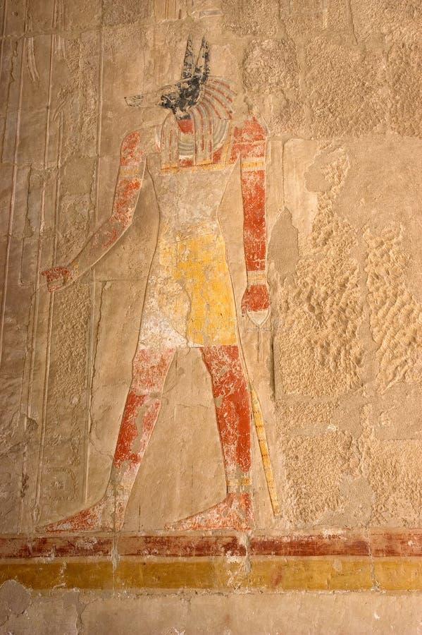 ancinet埃及象形文字的绘画墙壁 库存图片