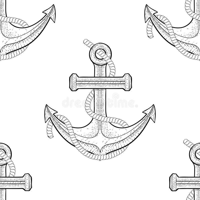 Ancla con la cuerda Modelo inconsútil Bosquejo dibujado mano del esquema libre illustration