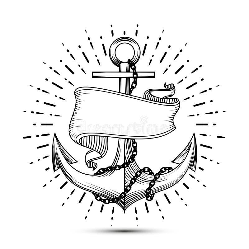 Ancla del vintage con el ejemplo del vector del tatuaje del marinero del bosquejo de la cinta ilustración del vector