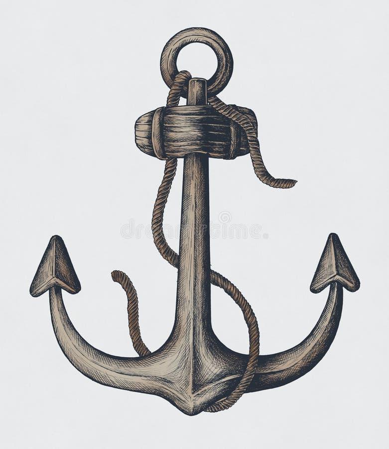 Ancla dibujada mano de la caña del metal ilustración del vector