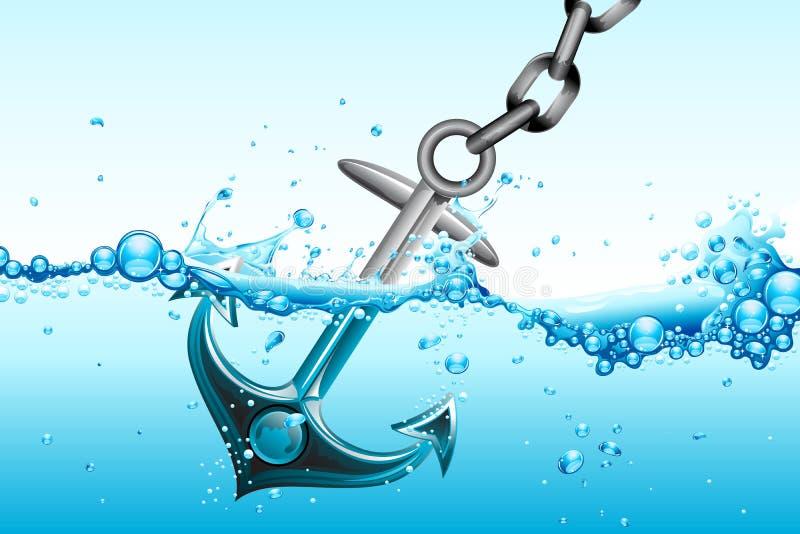 Ancla en agua ilustración del vector
