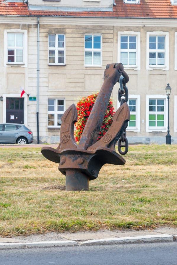 Ancla en el camino DK10 en Szczecin, Polonia foto de archivo libre de regalías