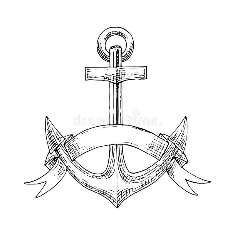 Ancla náutica del ministerio de marina con bosquejo de la cinta stock de ilustración
