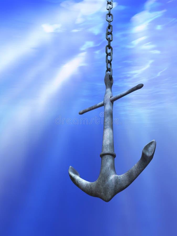 Ancla subacuática stock de ilustración