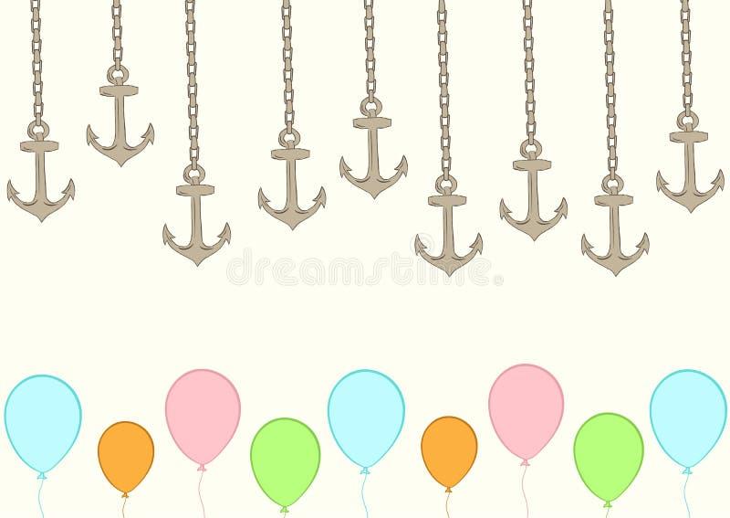 Anclas en cadenas y globos libre illustration