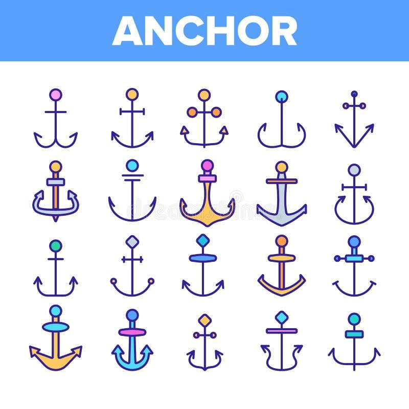 Anclas, sistema linear de los iconos del vector del equipo de la nave stock de ilustración