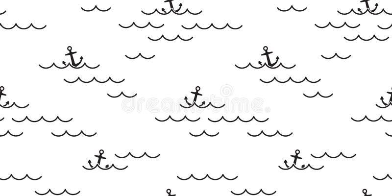 Ancle el fondo náutico marítimo aislado bufanda inconsútil de la teja del papel pintado de la repetición de la playa del barco de ilustración del vector