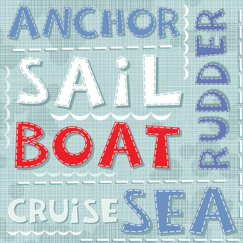 Ancle el modelo inconsútil azul de la travesía del barco de vela del mar stock de ilustración