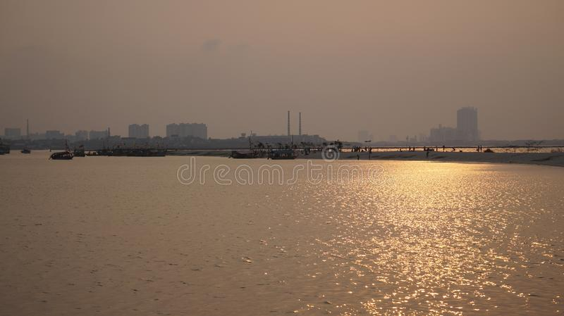 Ancol beach, Jakarta Indonesia. Ancol beach afternoon atmosphere, with beautiful sunshine before sunset stock photography