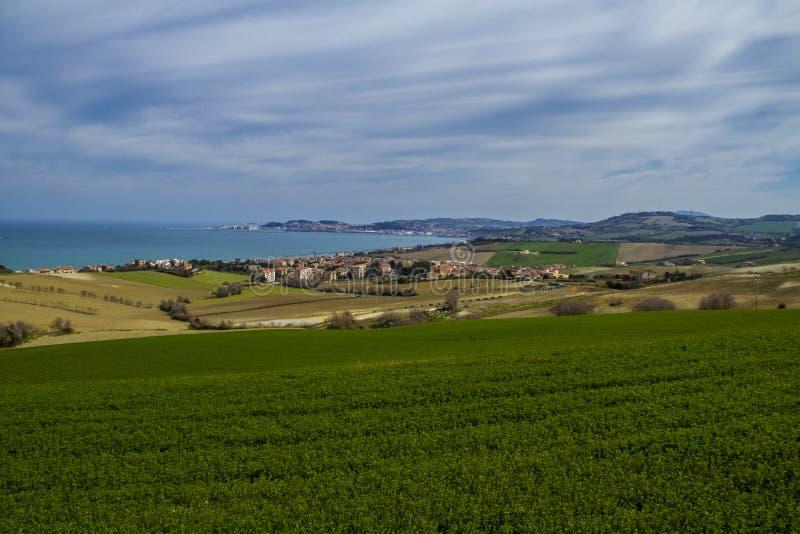 Ancona-Golf, Panoramablick von der Landschaft lizenzfreie stockbilder