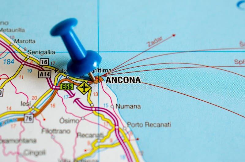 Ancona op kaart stock afbeeldingen