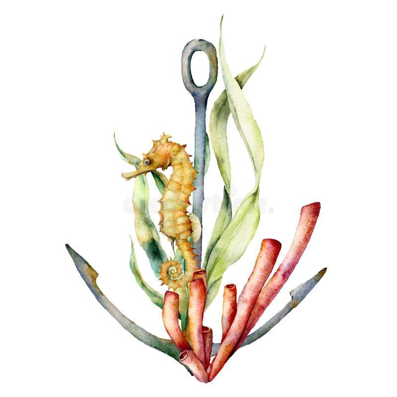 Ancora dell'acquerello, corallo e composizione nell'ippocampo Illustrazione subacquea dipinta a mano con il ramo dell'alga, fogli illustrazione vettoriale