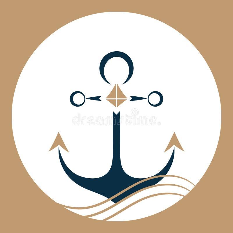 Ancora della nave sulle onde Logo nautico illustrazione di stock