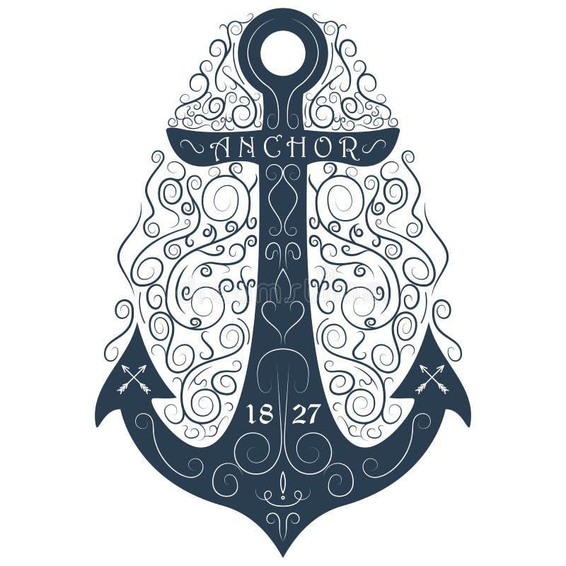 Ancora disegnata a mano d'annata di flourish di logo Illustrazione di vettore illustrazione vettoriale