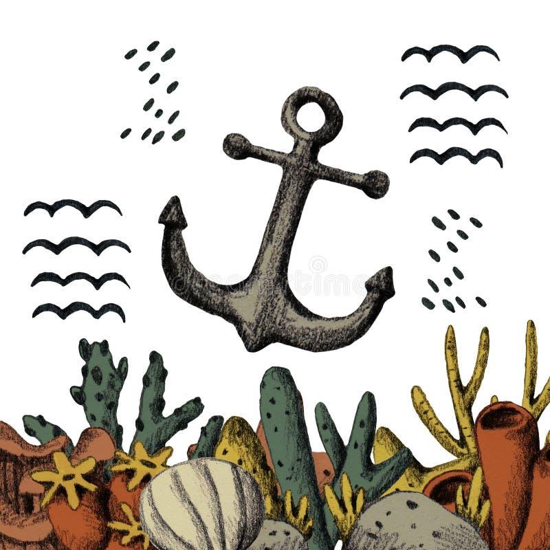 Ancora disegnata a mano nei coralli variopinti Mare scandinavo immagini stock