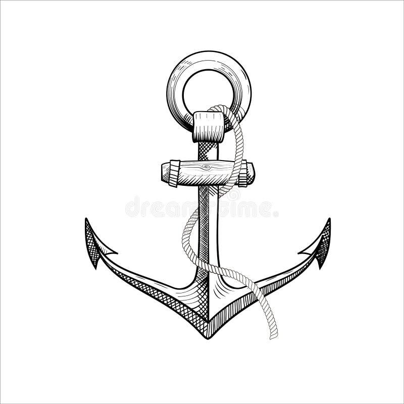 Ancora nautica disegnata a mano di vettore illustrazione vettoriale