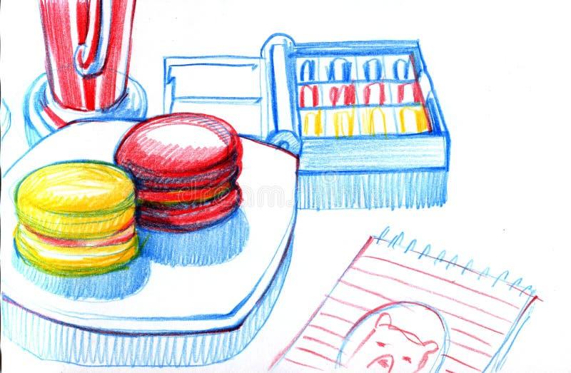 Ancora pittore della prima colazione del ` s dell'vita artista che si siede alla tavola e che assorbe sketchbook Attributi - una  illustrazione di stock