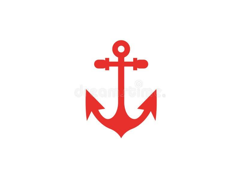 Ancora rossa per il logo dell'yacht e della barca illustrazione vettoriale