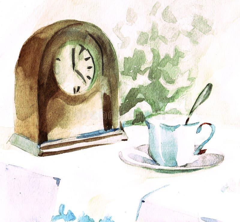 Ancora vita con l'orologio illustrazione di stock