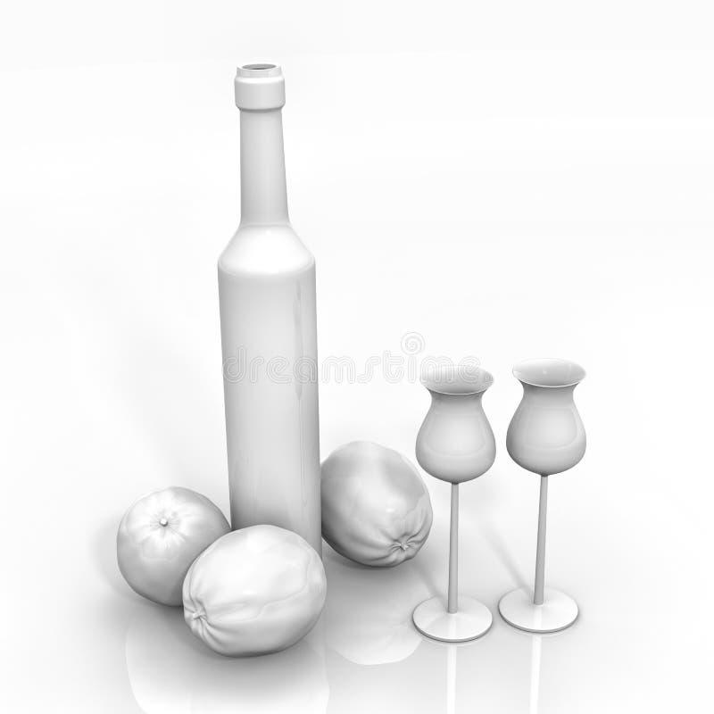 Ancora vita con la bottiglia di Limoncello fotografia stock