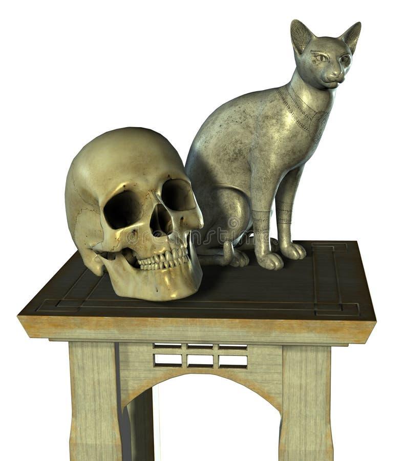 Ancora vita con la statua ed il cranio del gatto - include il percorso di residuo della potatura meccanica illustrazione di stock