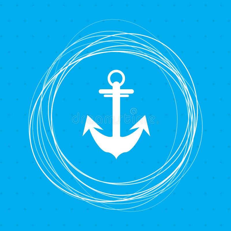 Ancori l'icona su un fondo blu con i cerchi astratti intorno e disponga per il vostro testo illustrazione di stock