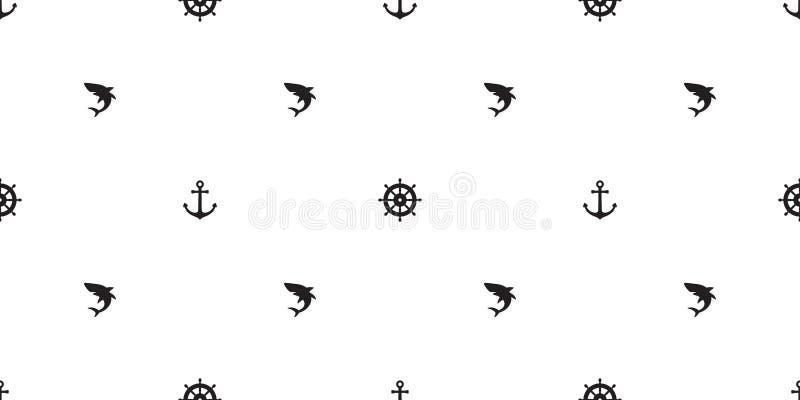 Ancori la carta da parati del fondo isolata barca marittima nautica senza cuciture dell'oceano del mare del delfino dell'aletta d illustrazione di stock