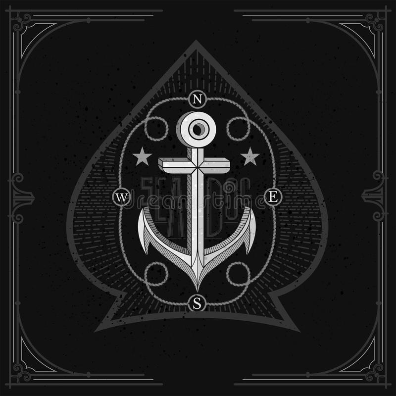 Ancre au centre du cadre de corde dans la forme d'as de pique Copie blanche de cru nautique sur le tableau noir illustration stock