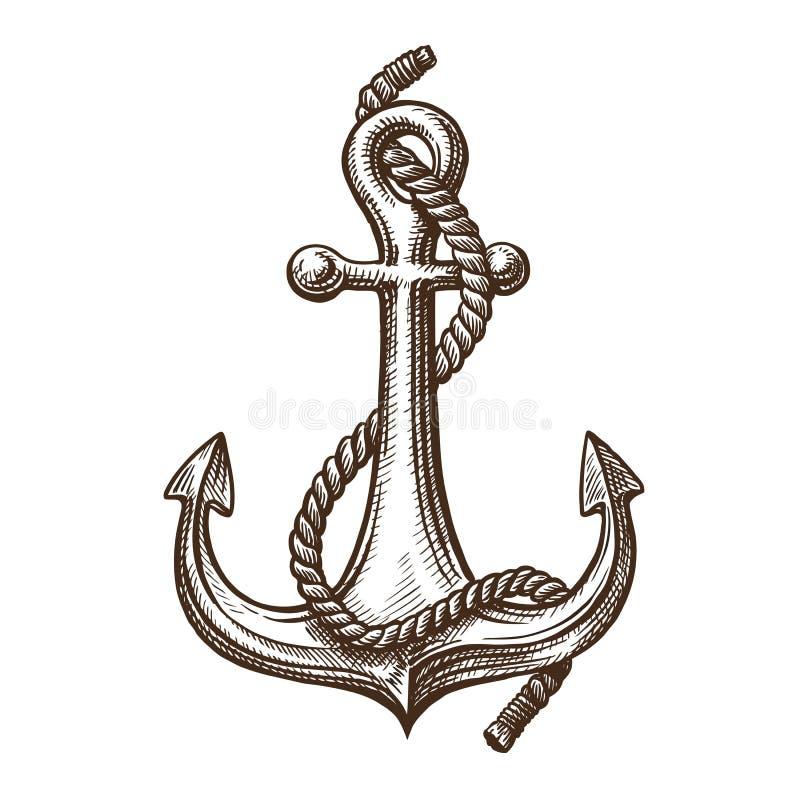 Ancre avec la corde, croquis Navigation, concept de croisière Illustration de vecteur de vintage illustration de vecteur