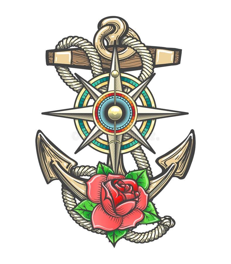 Ancre avec la rose et la Rose Flower de vent de boussole illustration de vecteur