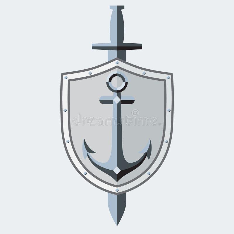 Ancre, bouclier et épée Élément pour le logo, symbole, tatouage Style lisse Vecteur illustration libre de droits