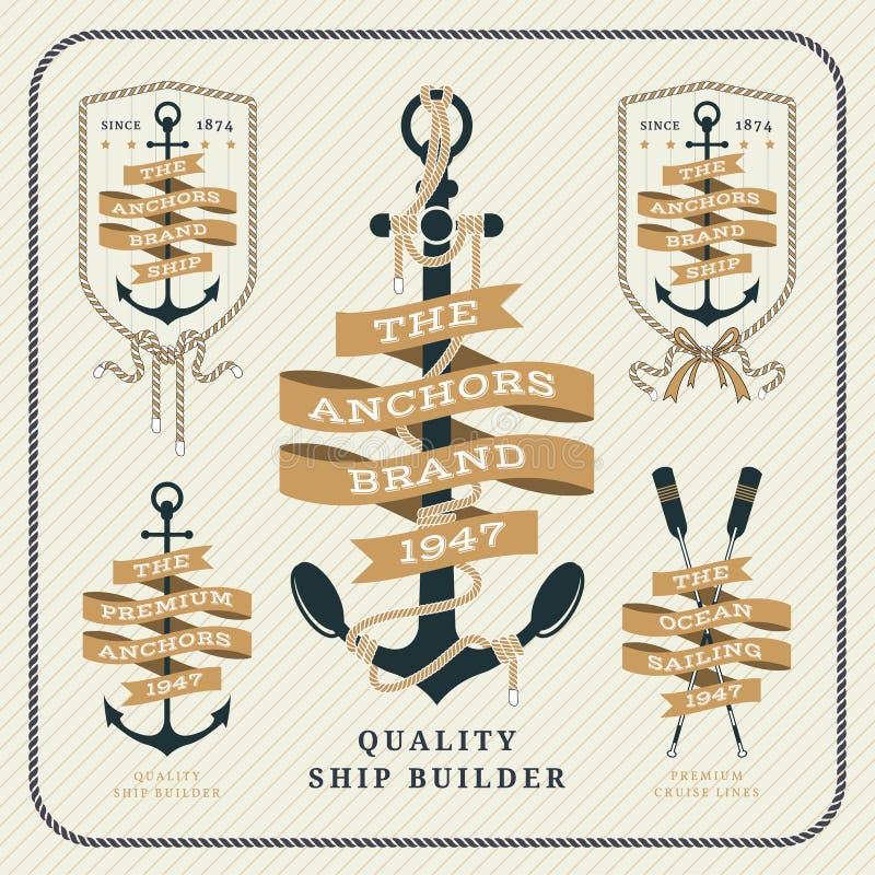 Ancre de vintage et ensemble de labels nautiques de ruban illustration libre de droits