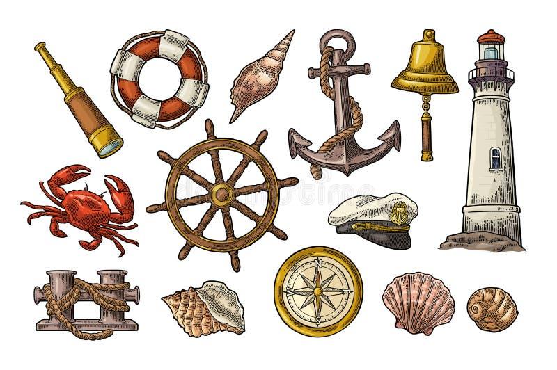 Ancre, roue, borne, chapeau, rose de boussole, coquille, crabe, gravure de phare illustration libre de droits