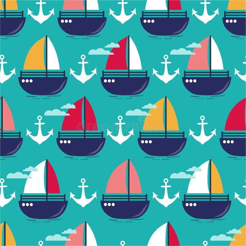 Ancres flottantes et bateaux, modèle sans couture coloré Fond marin Papier peint mignon d?coratif illustration libre de droits