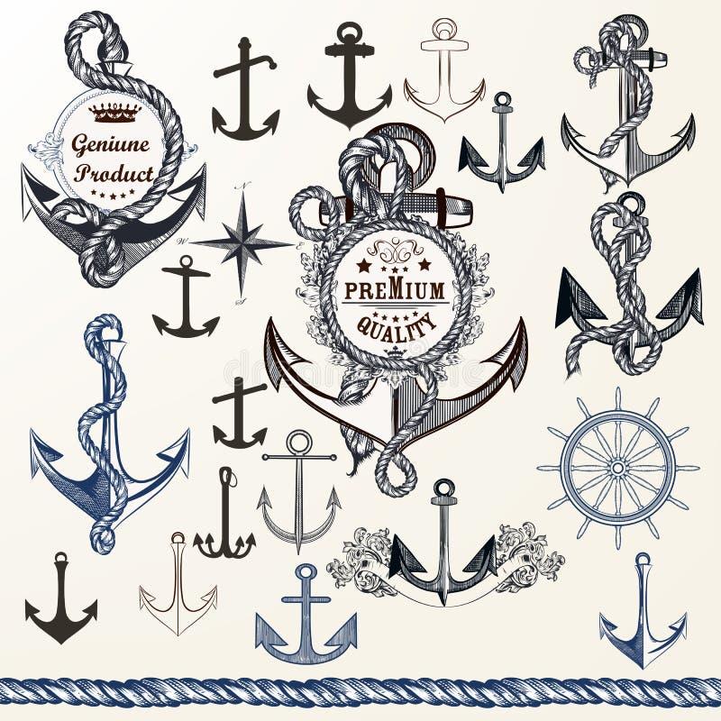 Ancres, labels pour le logotype ou conception d'impression dans le style de vintage H illustration stock