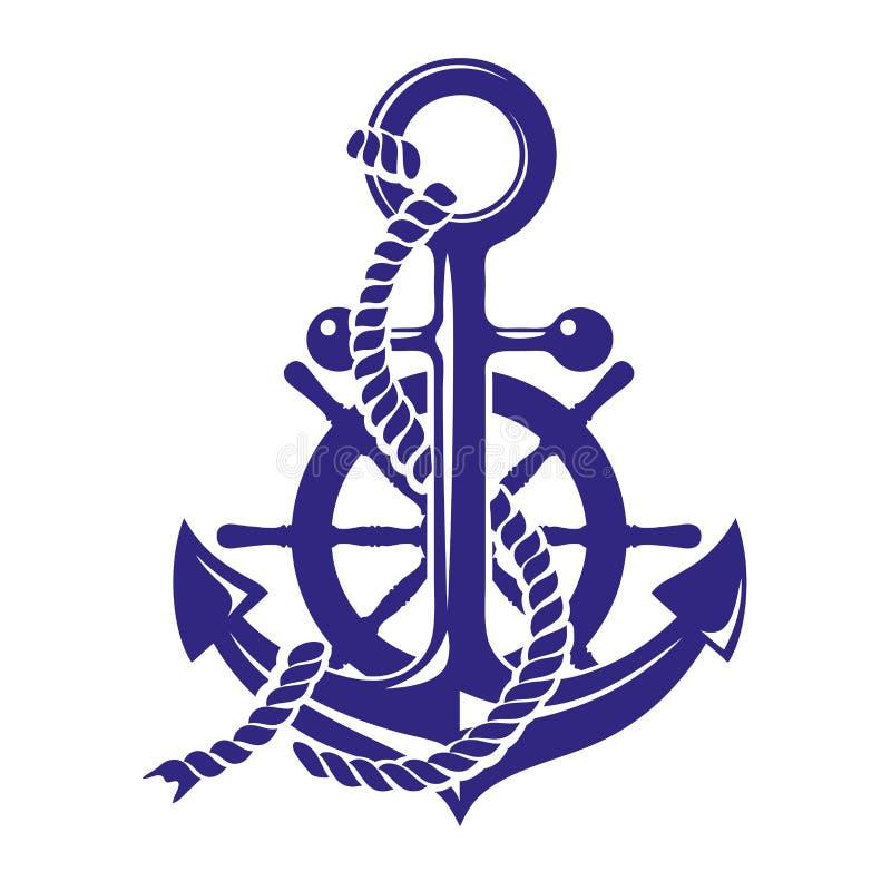 Ancrez et illustration de vecteur de symbole de roue de bateaux d'isolement sur le fond blanc illustration de vecteur