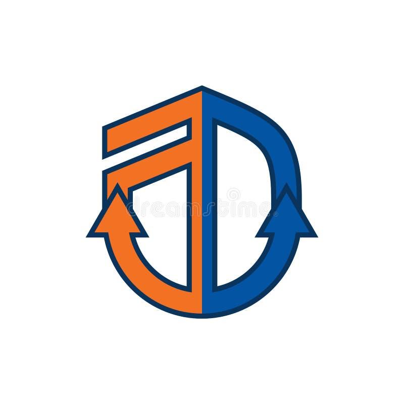 Ancrez un logo de lettre de D - vecteur illustration stock