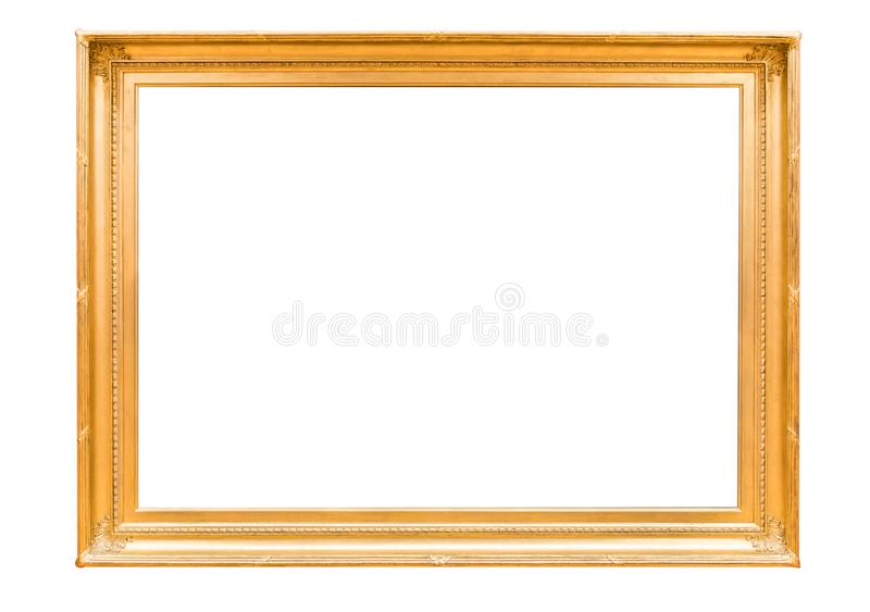 Anctient crested golden wood mirror stock photos