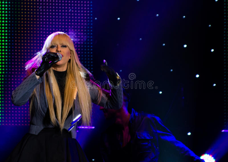 Anda Adam. (singer) at New Years Eve 2014 concert organized by District 3, Bucharest royalty free stock photo