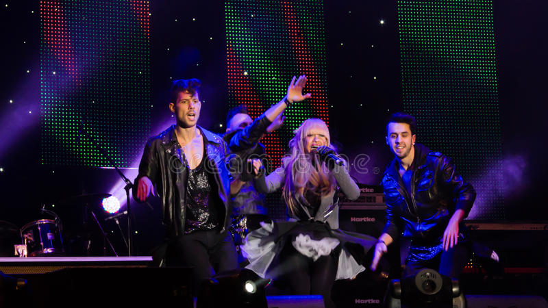 Anda Adam. (singer) at New Year's Eve 2014 concert organized by District 3, Bucharest stock image