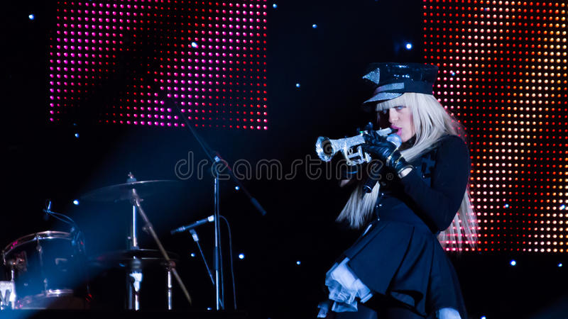Anda Adam. (singer) at New Years Eve 2014 concert organized by District 3, Bucharest stock photo