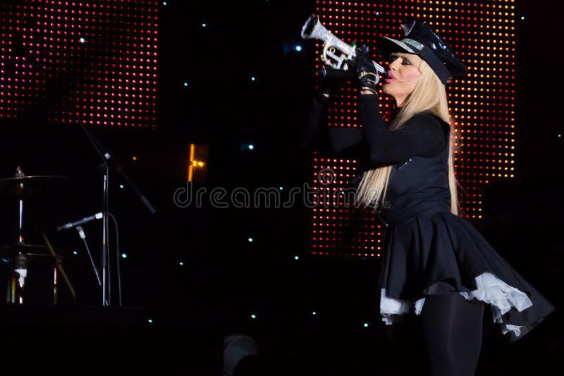 Anda Adam. (singer) at New Years Eve 2014 concert organized by District 3, Bucharest stock photography