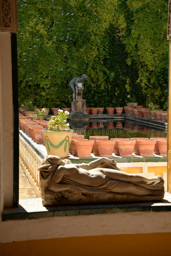andalusia Seville Spain Wewnętrzny sądu ogród przy Casa De Pilatos obrazy royalty free