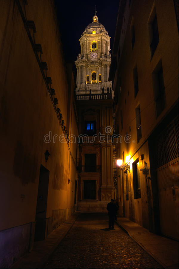 Andalusia, Spain, Malaga Cathedral's bell tower night view stock photography