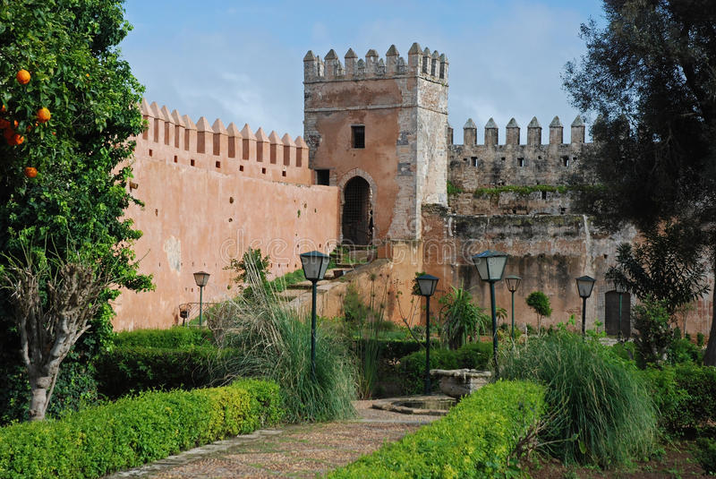 Andalusian Garden located in the Ouida Kasbah - Rabat- Morocco. Andalusian Garden laid out in Moorish style with pieces city wall located in the Kasbah Ouida royalty free stock photo
