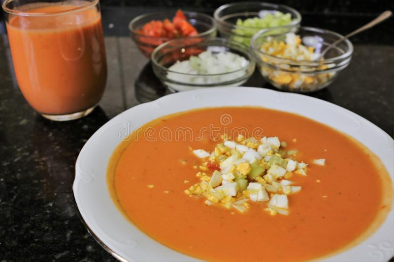 Andalusian gazpacho Andalusian and Spanish cuisine. Andalusian Gazpacho a typical and traditional food of the Andalusian and Spanish cuisine. The gazpacho is a royalty free stock image