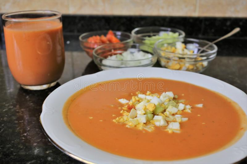 Andalusian gazpacho Andalusian and Spanish cuisine royalty free stock images