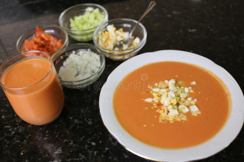 Andalusian gazpacho Andalusian and Spanish cuisine stock image