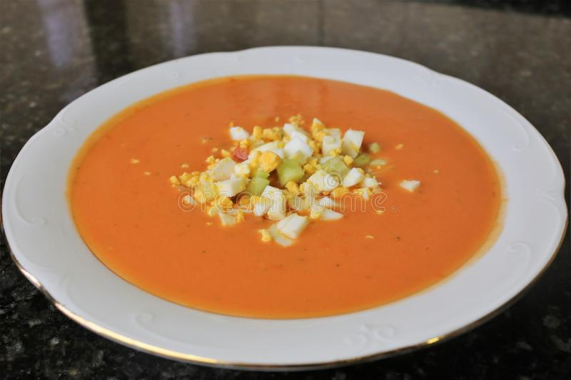 Andalusian gazpacho Andalusian and Spanish cuisine royalty free stock image