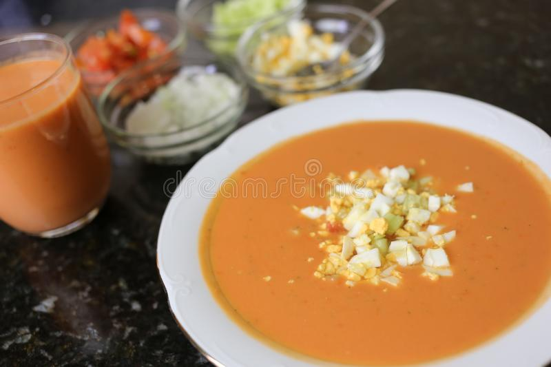 Andalusian gazpacho Andalusian and Spanish cuisine stock photos